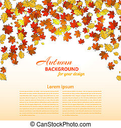 oak., folhas, ilustração, outono, vetorial, fundo, maple