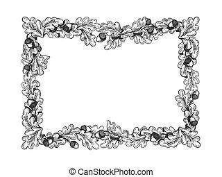 Oak frame engraving vector illustration