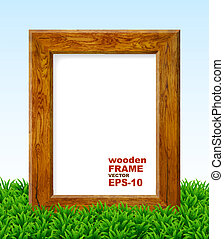 Oak frame with green grass.
