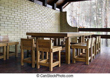 oak furniture outdoors in the garden without people