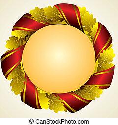 oak golden wreath - oak golden laureate wreath with red...