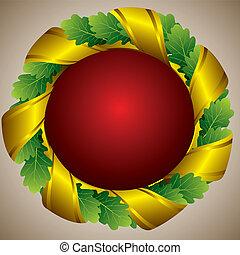 oak green wreath - oak green laureate wreath with golden...