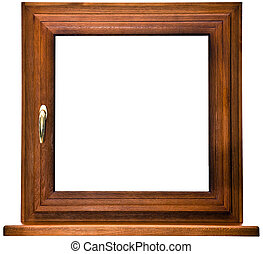 Oak laminated fiberglass window with gold handle isolated on...