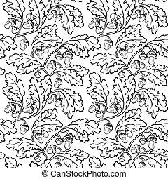 oak leaf acorn black white seamless background