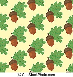 Oak leaf and acorn seamless pattern