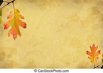 Oak Leaf Background - Grunge paper background with muted red...