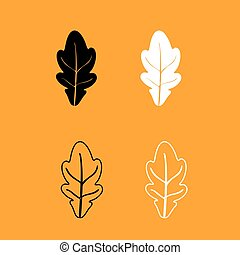 Oak leaf black and white set icon. - Oak leaf it is black...