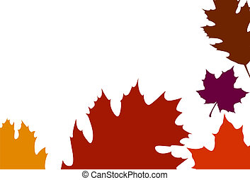 Oak Leaf border - Landscape frame of Oak leaves in variety...