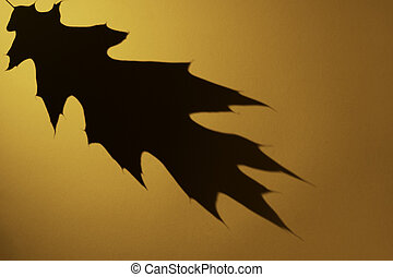Oak leaf dark shadow on orange color background. Flat lay, top view, copy space. Minimal autumn, halloween concept. Overlay effect for photo.