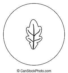 Oak leaf icon black color in circle vector illustration...