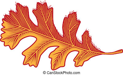 Oak Leaf - Icon of a woodcut style oak leaf