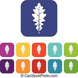 Oak leaf icons set flat
