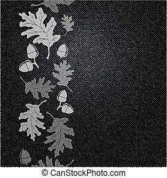 A background of black denim with an oak leaf and acorn motif. Space for your text. EPS10 vector format