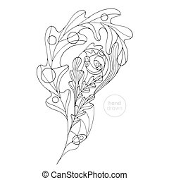 Oak leaf vector coloring page. Hand drawn abstract paisley illustration. Leaves design element in modern style.