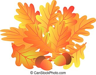 Oak Leaves and Acorn in Fall Illustration
