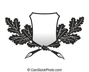 oak leaves - emblem with twigs of an oak as trophy