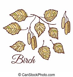 Oak leaves in stained illustration.