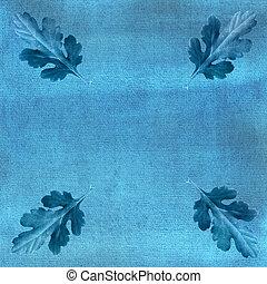 Oak leaves on blue watercolor background.