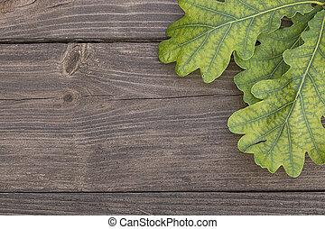 Oak leaves on wooden background