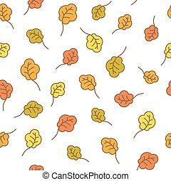 Oak leaves seamless pattern. Autumn background