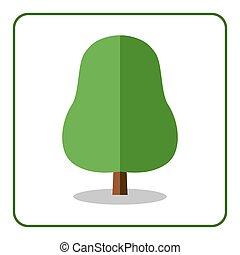 Oak linden tree icon flat