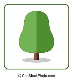 Oak linden tree icon flat