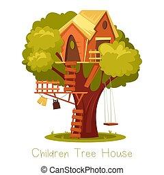 oak., maison bois, échelle, arbre, tree-house., enfants, gosse
