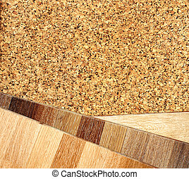 Oak parquet and cork flooring texture - New oak parquet and...