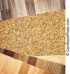 Oak parquet and cork flooring texture - New oak parquet and...