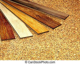 Oak parquet and cork flooring texture - New oak parquet cork...
