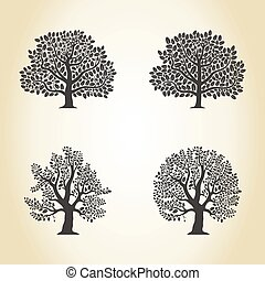 Set of trees of an oak. A vector illustration