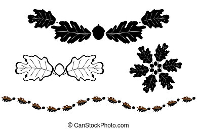 Oak silhouette elements - Oak leaf silhouette design element...