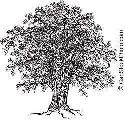 Black and white oak tree with leaves. Drawn with illustrator's brushes.