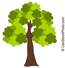 Oak tree - Big green oak tree vector illustration
