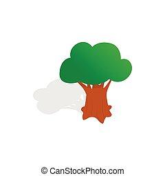 Oak tree icon, isometric 3d style
