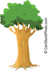 Oak Tree - Illustration of a majestic cartoon big oak tree...