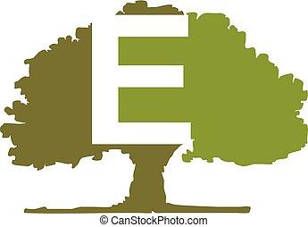 Oak Tree Letter E