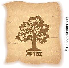 Oak Tree on Old Paper