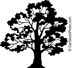 Oak Tree Pictogram, Black Silhouette and Contours