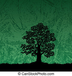 Oak tree silhouette on abstract background