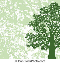 Oak tree silhouette on abstract background - Oak tree with...