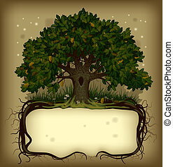 Oak tree wih a banner - vector old-fashioned banner with ...