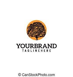 oak tree with orange sun in behind Logo design