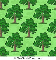 Oak Trees Seamless - Seamless Pattern, Oak Tree, Season...