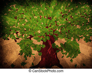 Oak with green leaves on grunge background