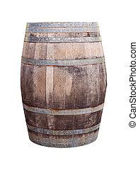 oak wood barrel isolated on white