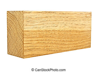Oak wooden bar isolated on a white background