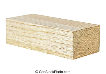 Oak wooden beam isolated on a white background