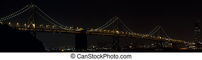 Oakland Bay Bridge Over San Francisco Bay at Night