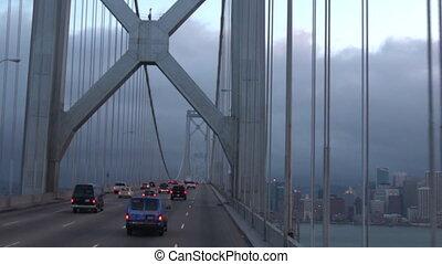 Oakland Bay Bridge San Francisco - Traffic of vehicles...